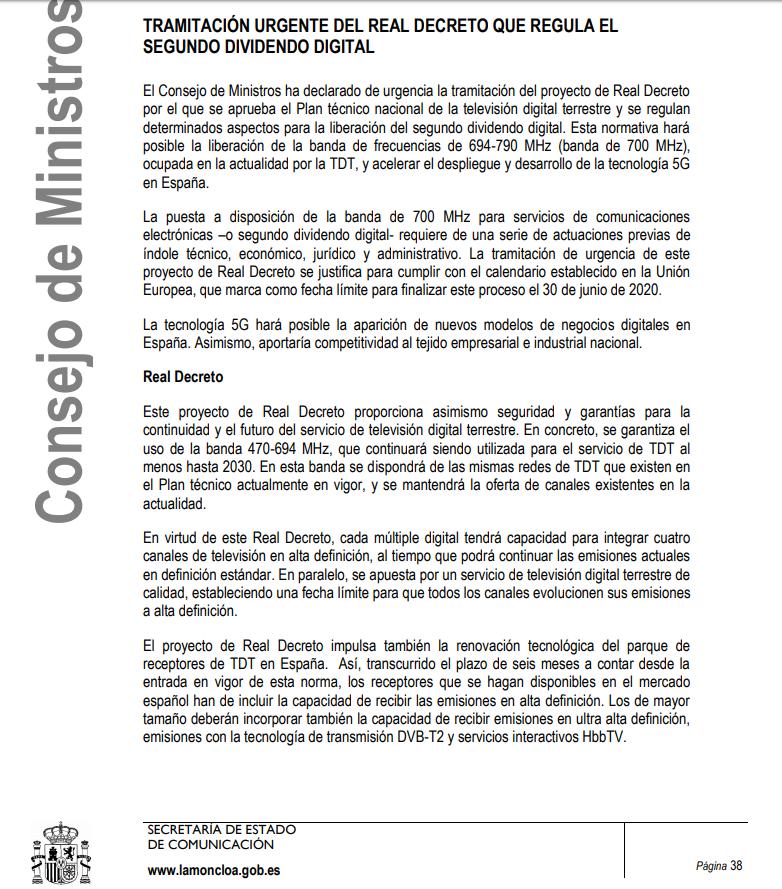 Calendario Dividendos 2020.Aprobado En Consejo De Ministros Por Real Decreto La Transicion Al